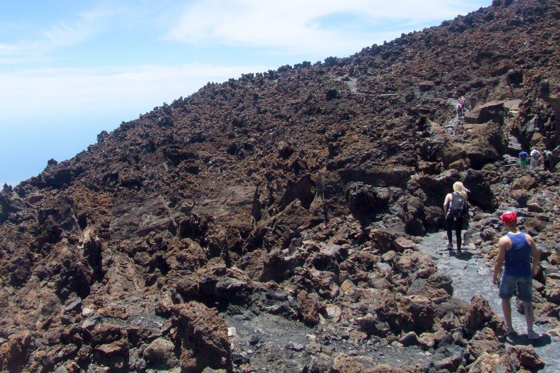 teide lava flows near the top