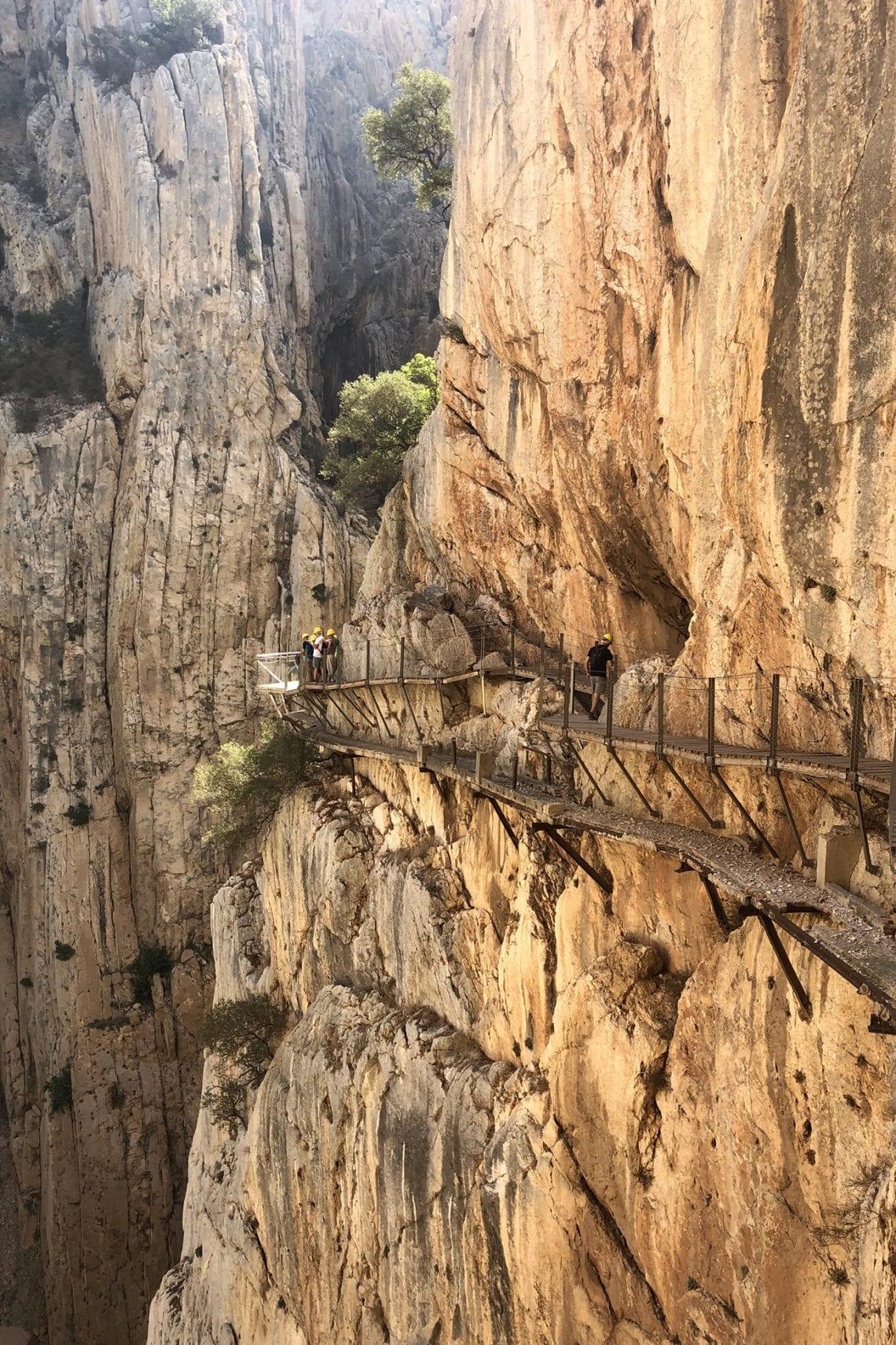caminito del rey paths running along the cliffs