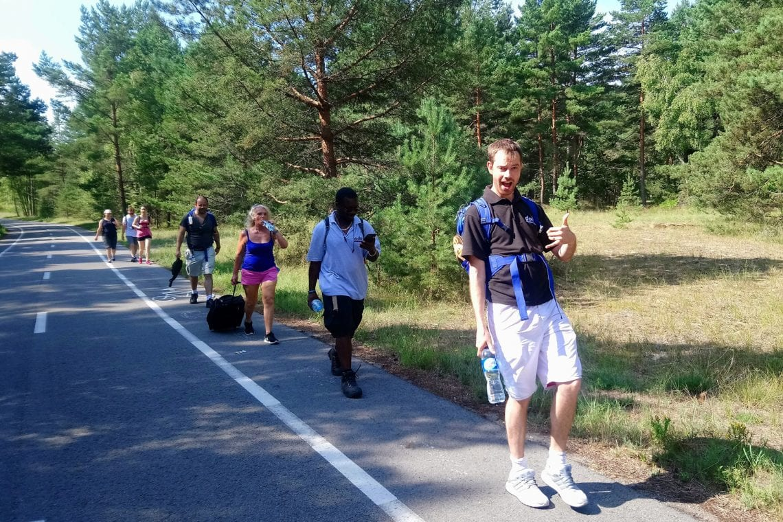 curonian spit single file along the road