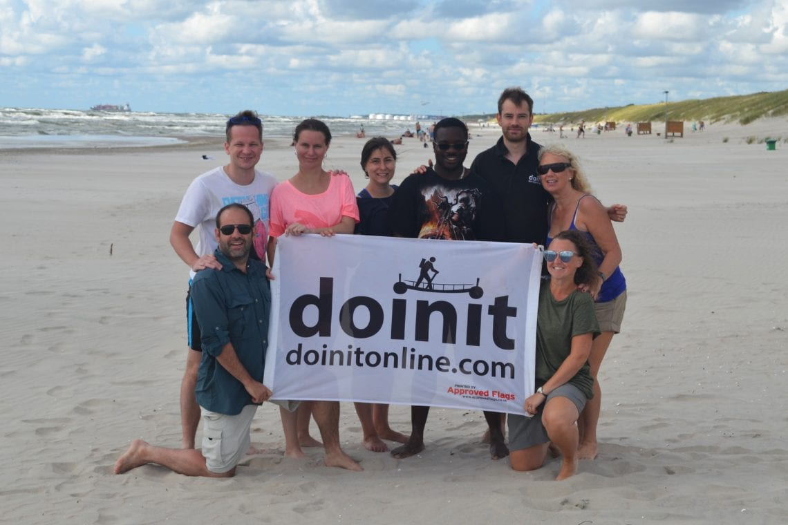 curonian spit team doinit on the beach