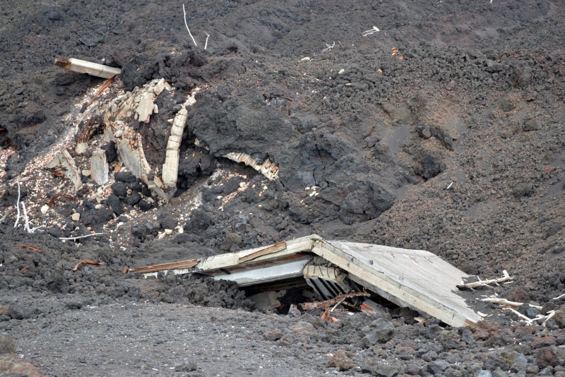 etna buildings burried in lava