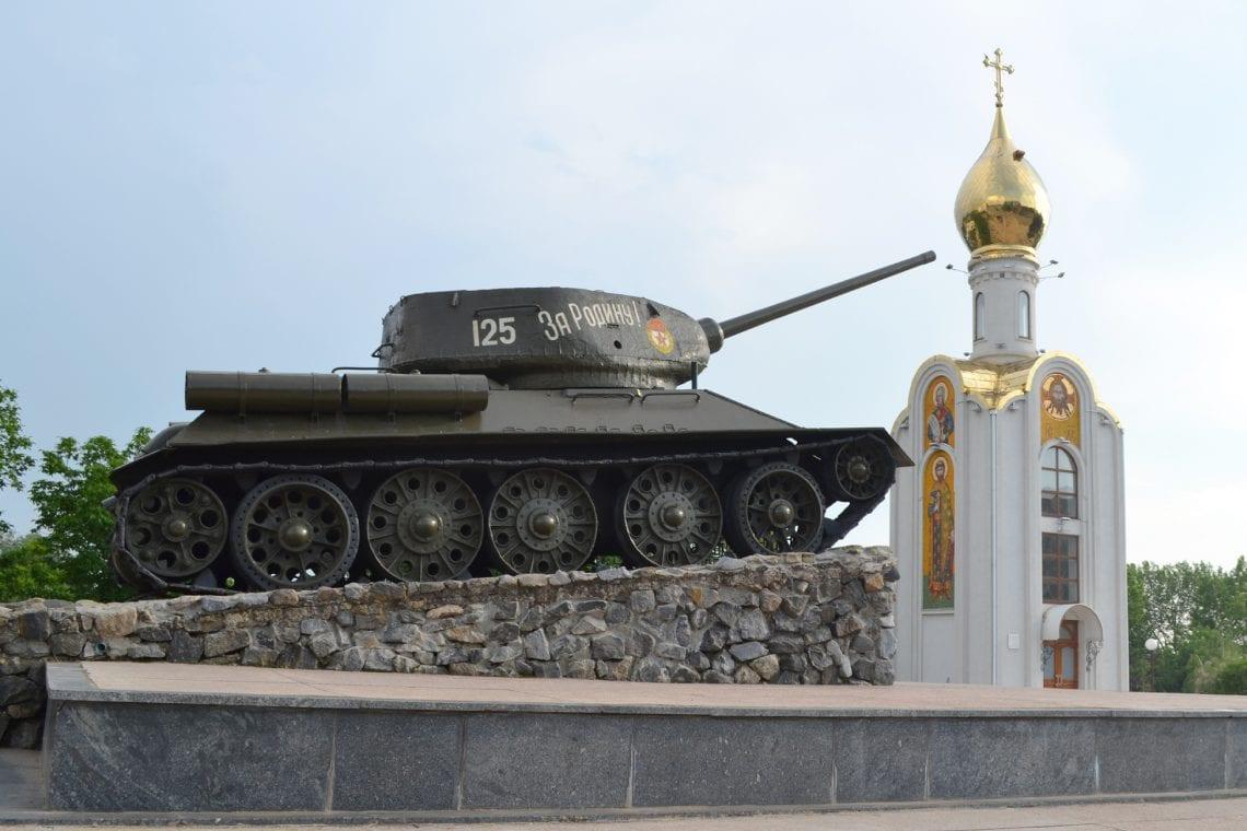 moldova tank and monuments in central tiraspol
