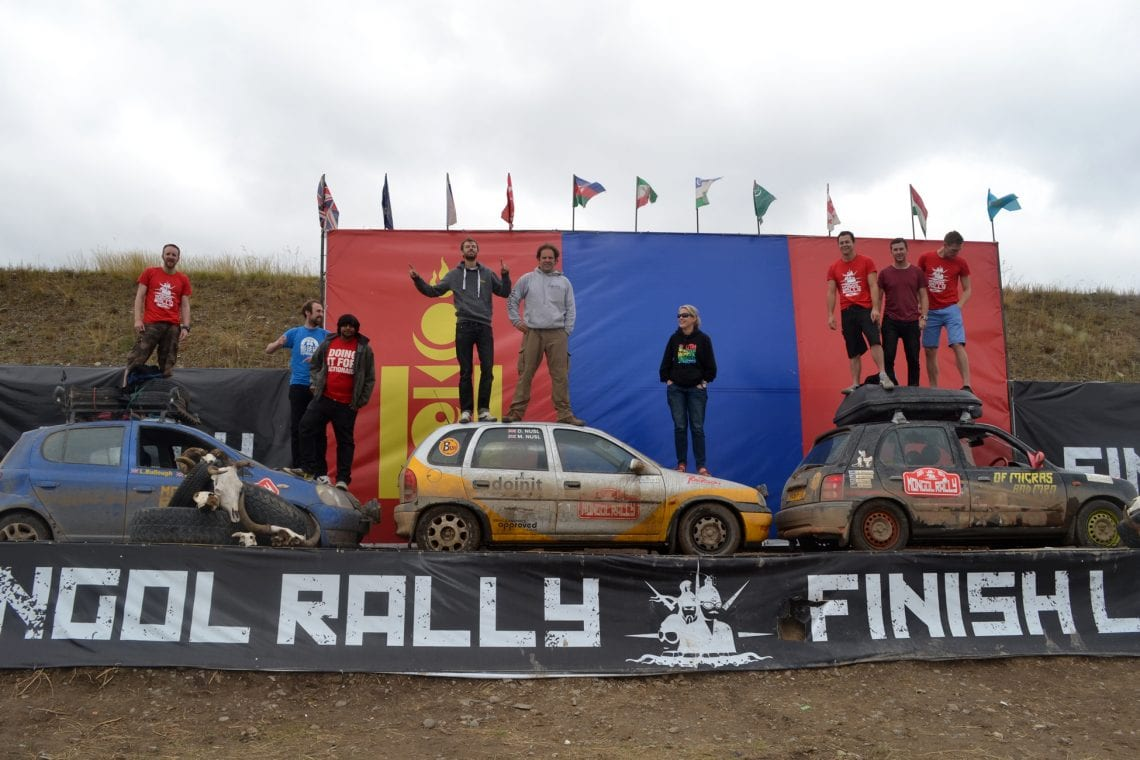 mongol rally at the mongol rally finish line