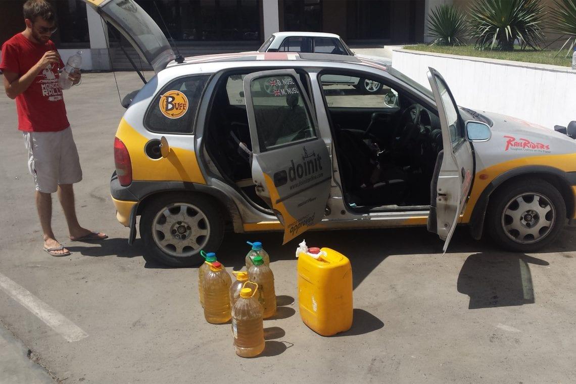 mongol rally buying petrol on the black market in uzbekistan