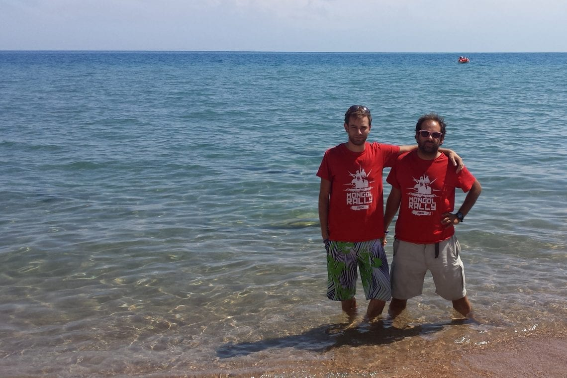 mongol rally dan and maz in lake issyk kul