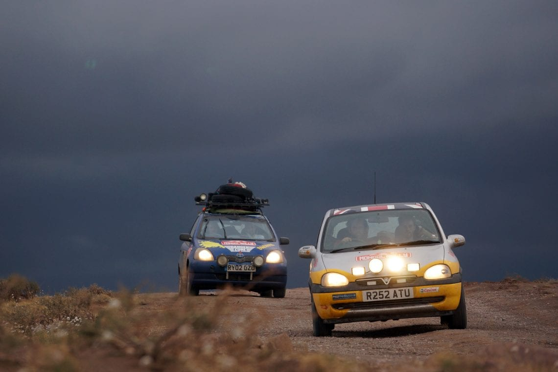 mongol rally driving in mongolia on a moody day