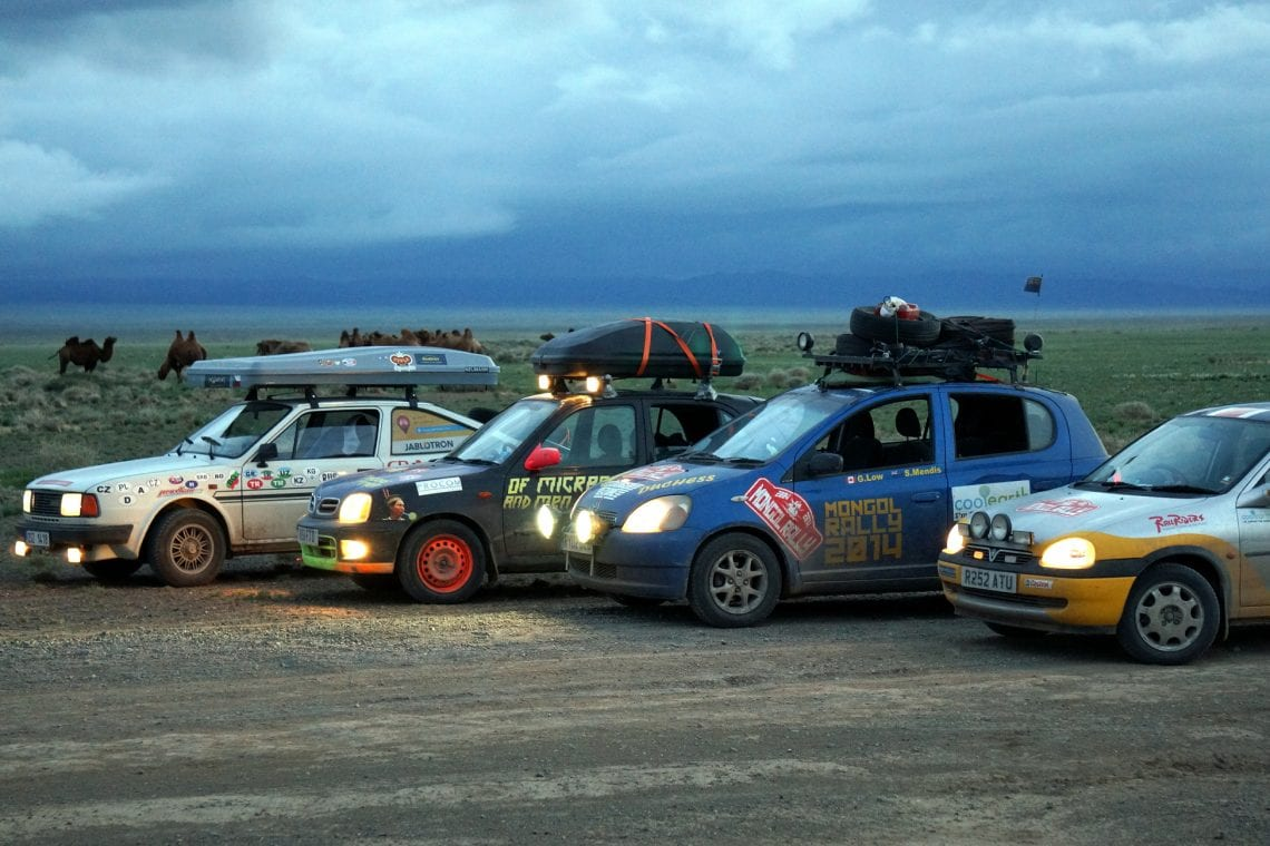 mongol rally lining up for a drag race in mongolia