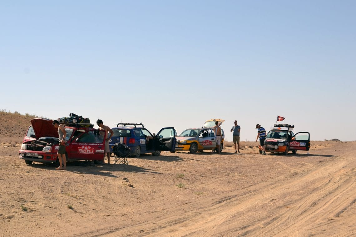 mongol rally setting up camp in turkmanistan