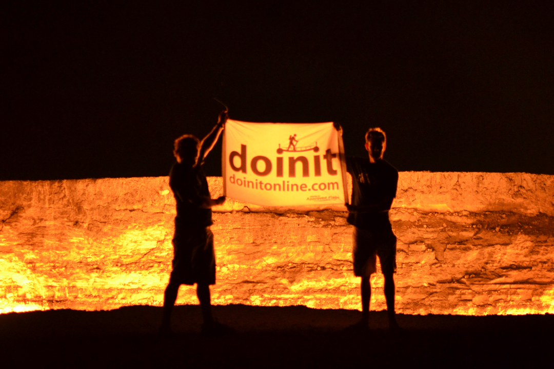 mongol rally team doinit at the gates of hell turkmanistan