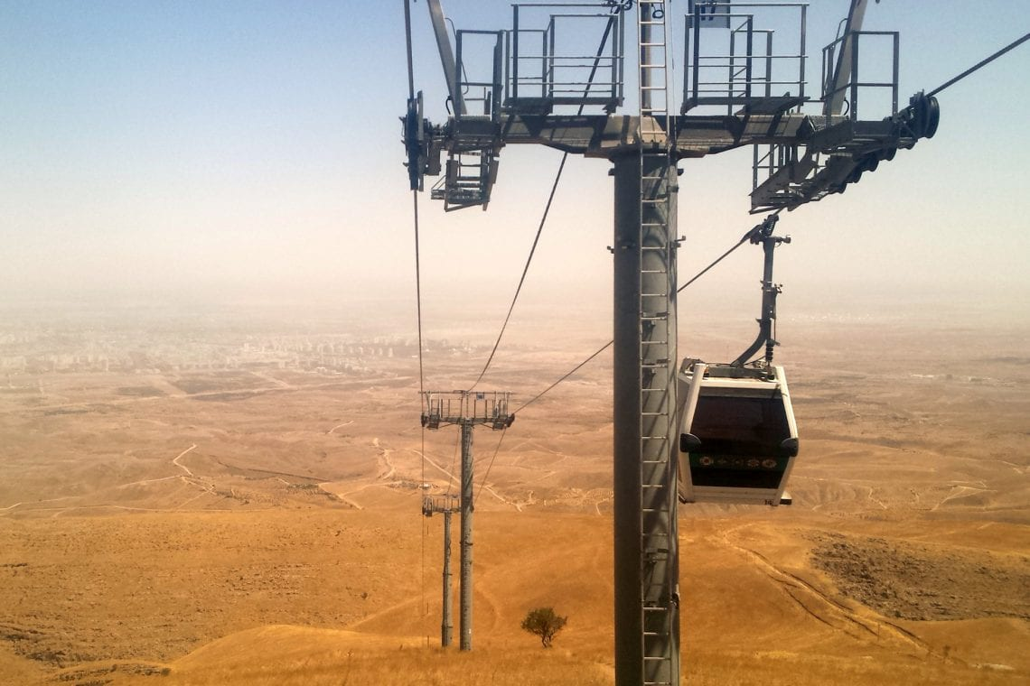 mongol rally the cable car with ashgabat surrounded in desert dust below