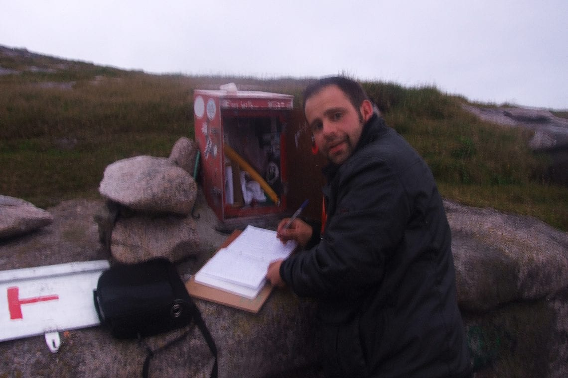 nordkapp maz signing the guest book at the top of europe