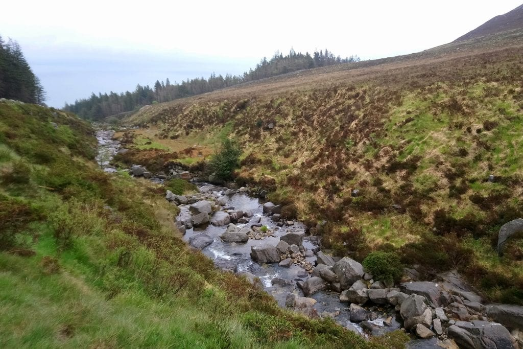slieve donnard following the stream