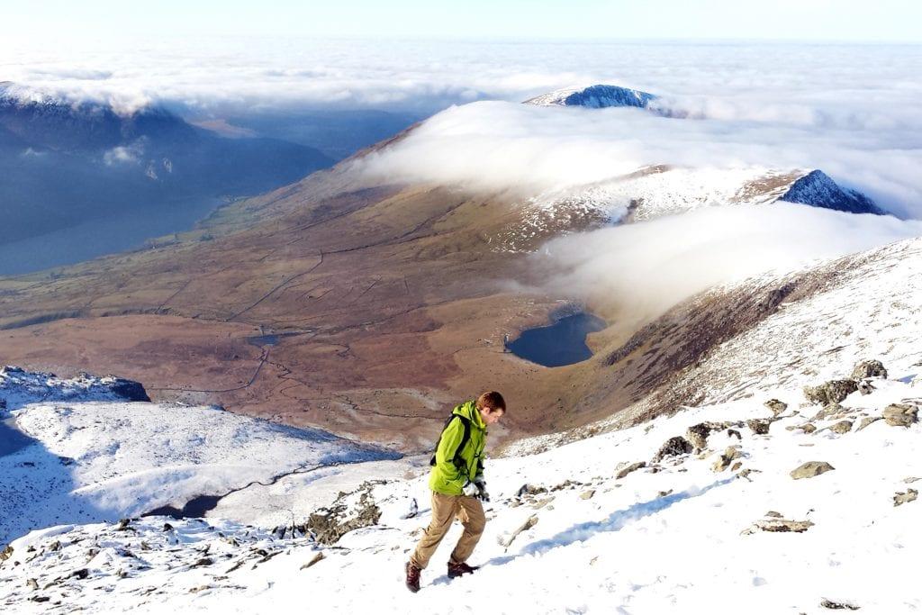 snowdon dan walking up the watkin path