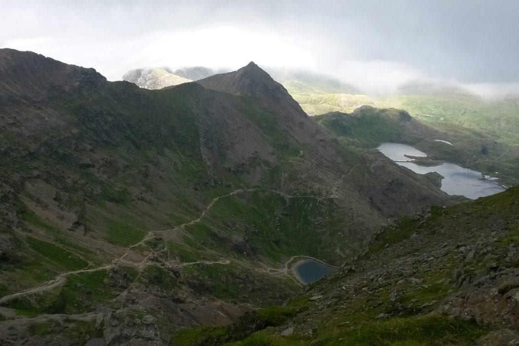 snowdon looking back down on the pyg track