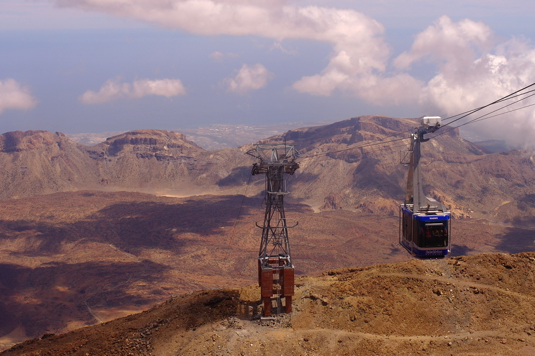 teide cable cars running to the top