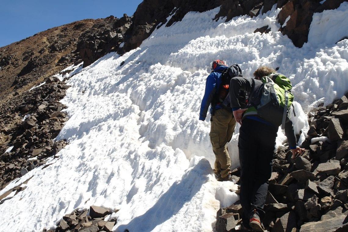 toubkal walking over ice