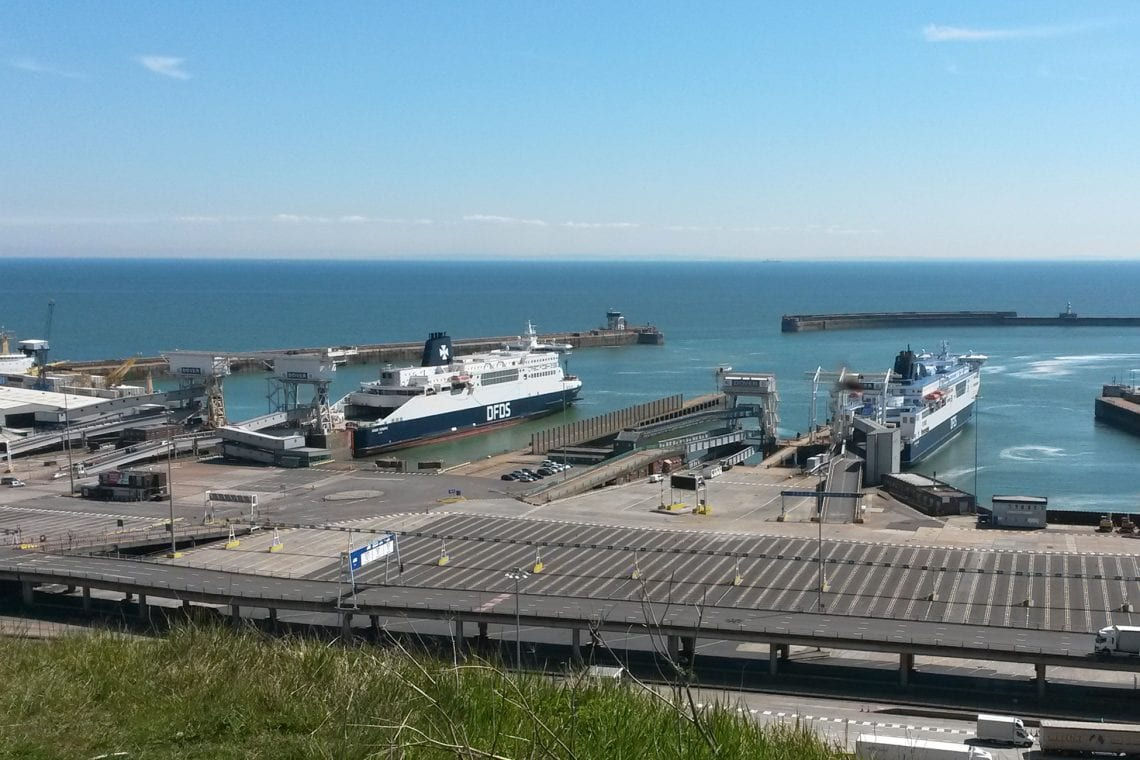 white cliff country high above dover sea port
