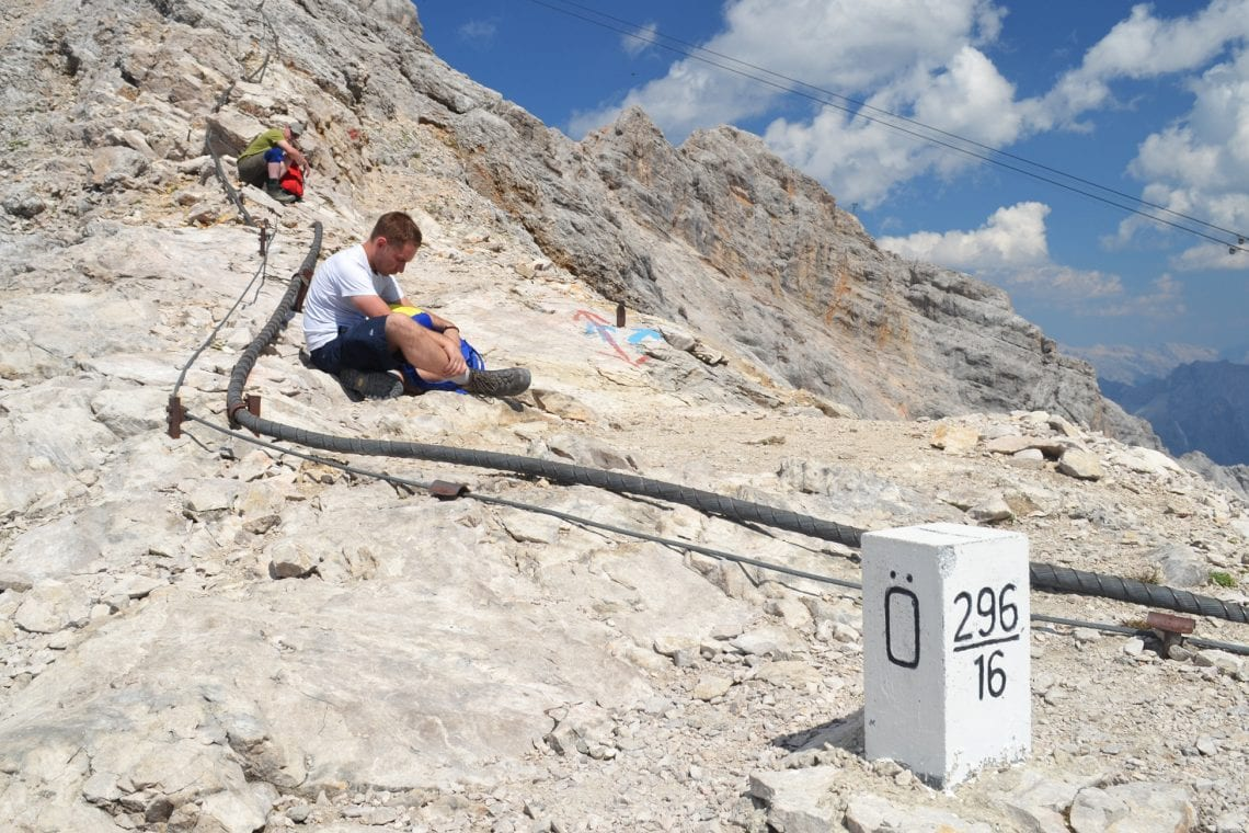 zugspitze andy taking a break near the top