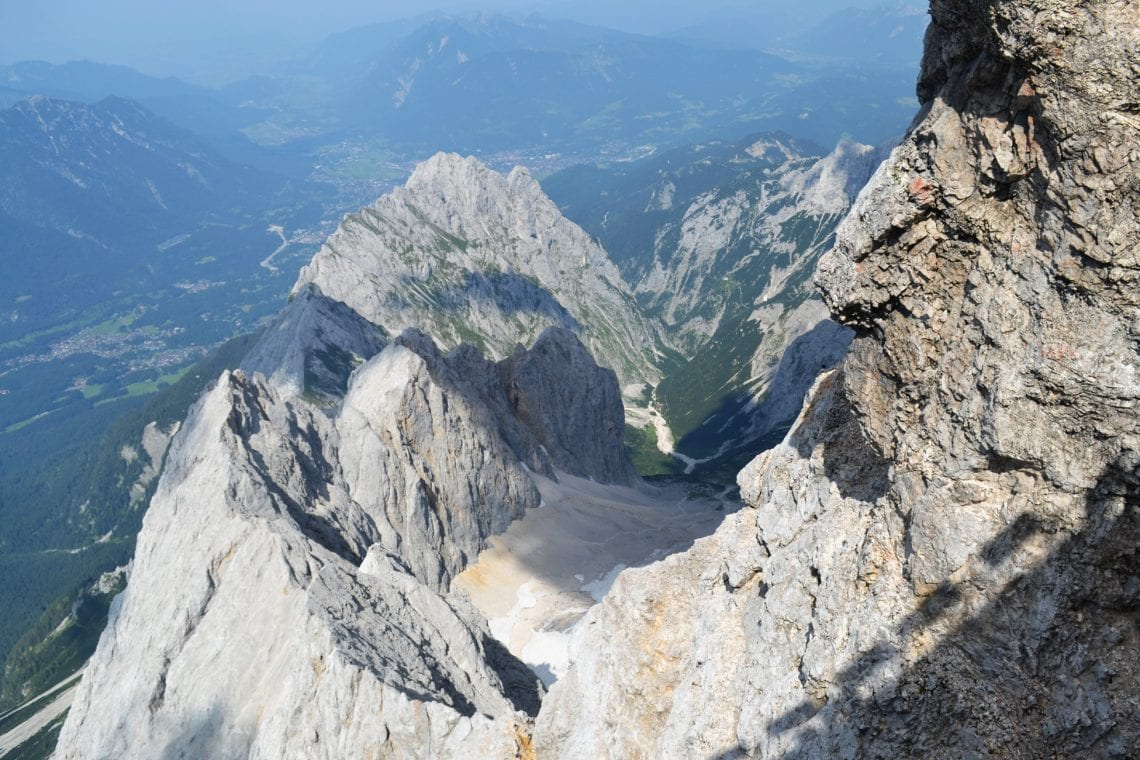 zugspitze look back down on the glacier