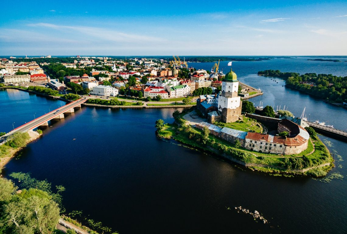 Aerial view of Vyborg city panorama, Russia.