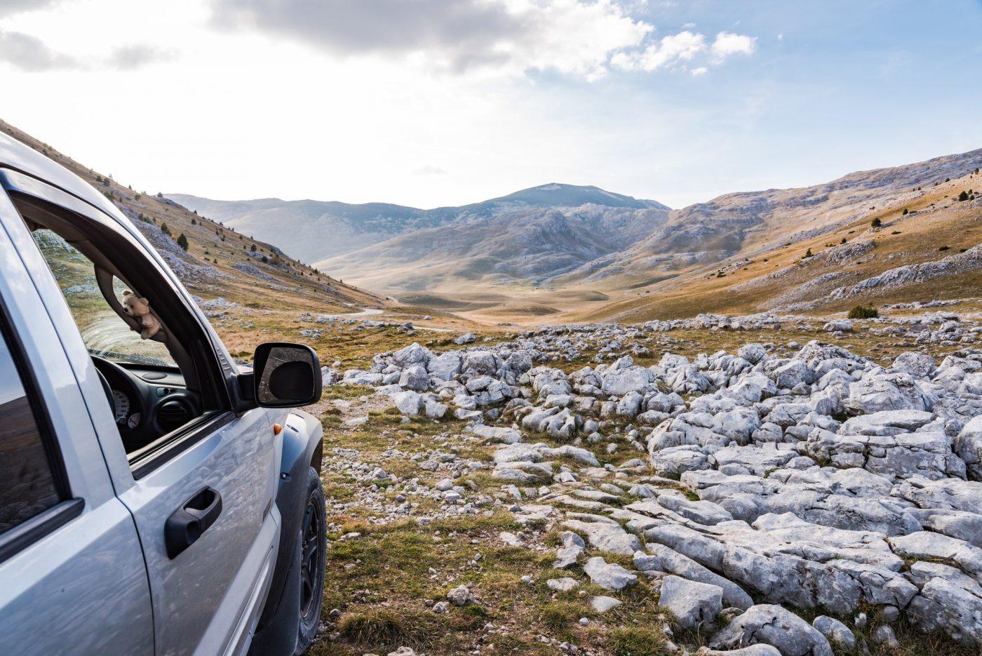 Off road adventure in rural steppe in Bosnia