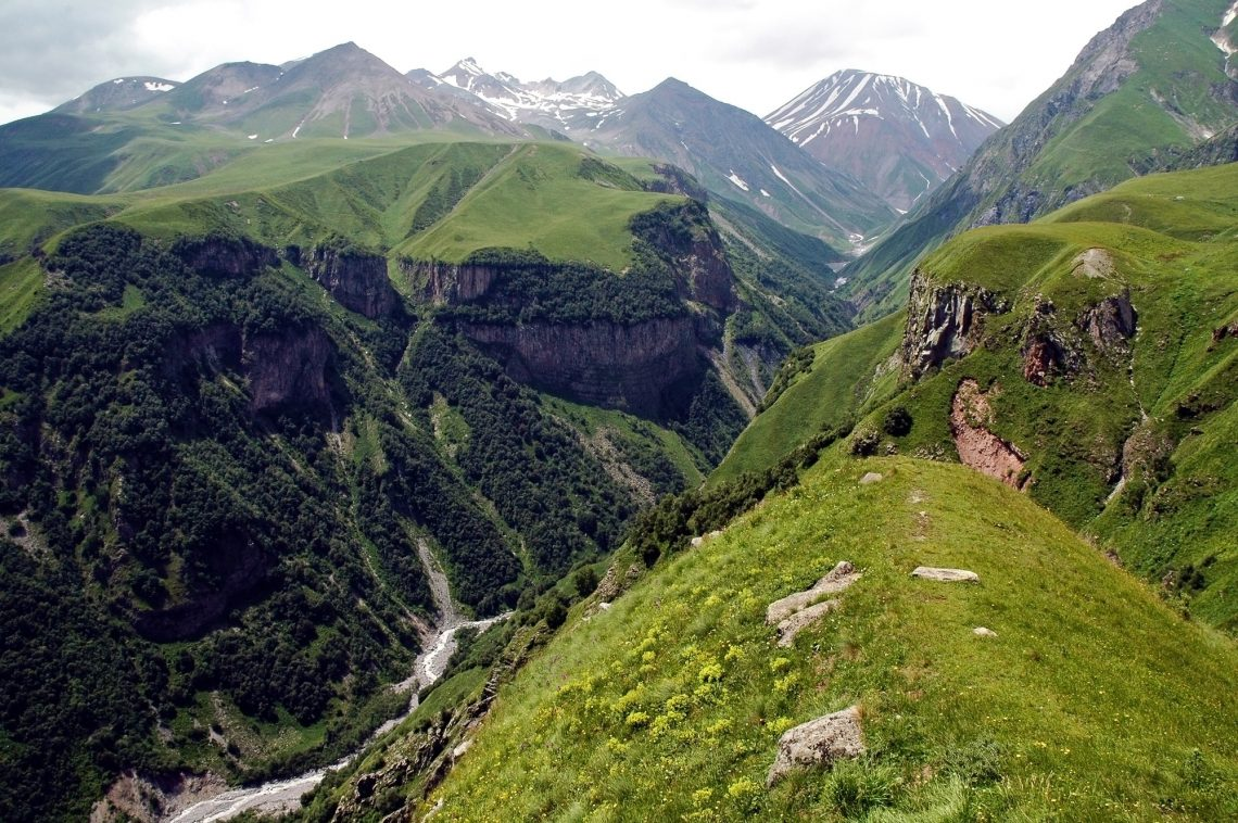 The valley of Georgian Military Highway, Caucasus mountains, border between Georgia and Chechnya