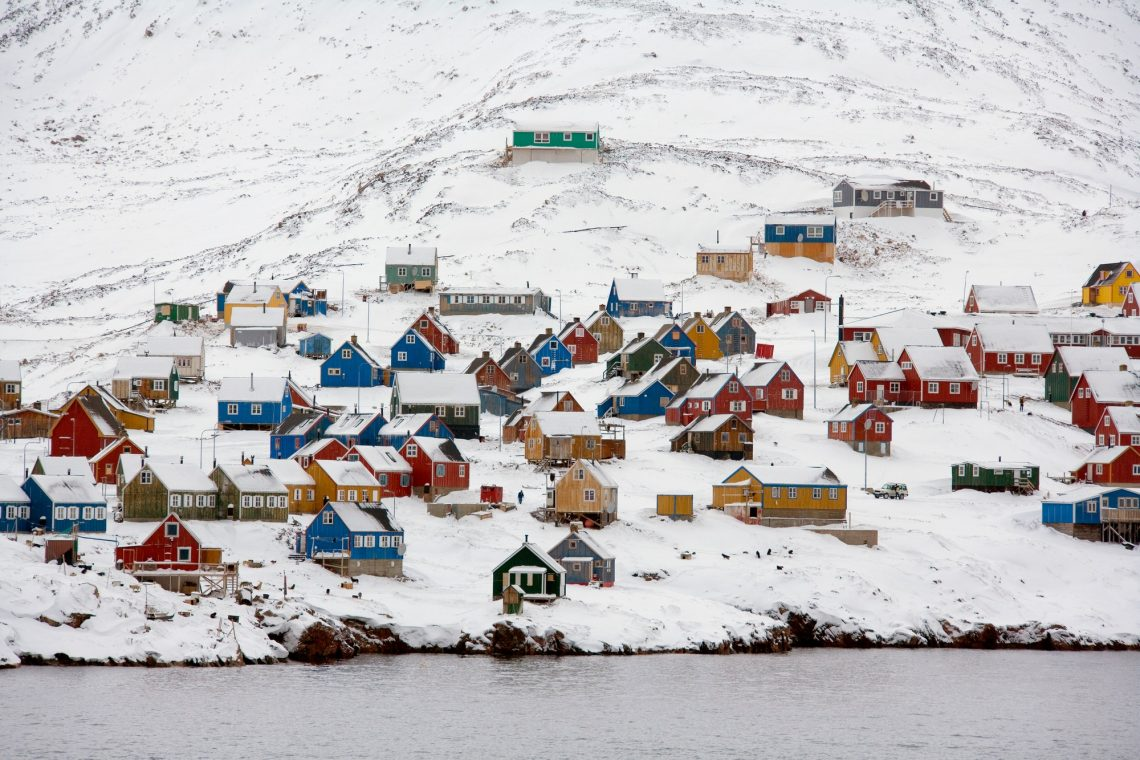 Town of Ittoqqortoormiit (pop. 551) at the entrance to Scoresbysund in eastern Greenland.