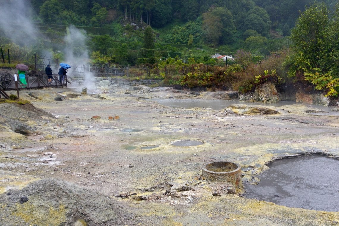 azores the caldeiras hot springs on a rainy day