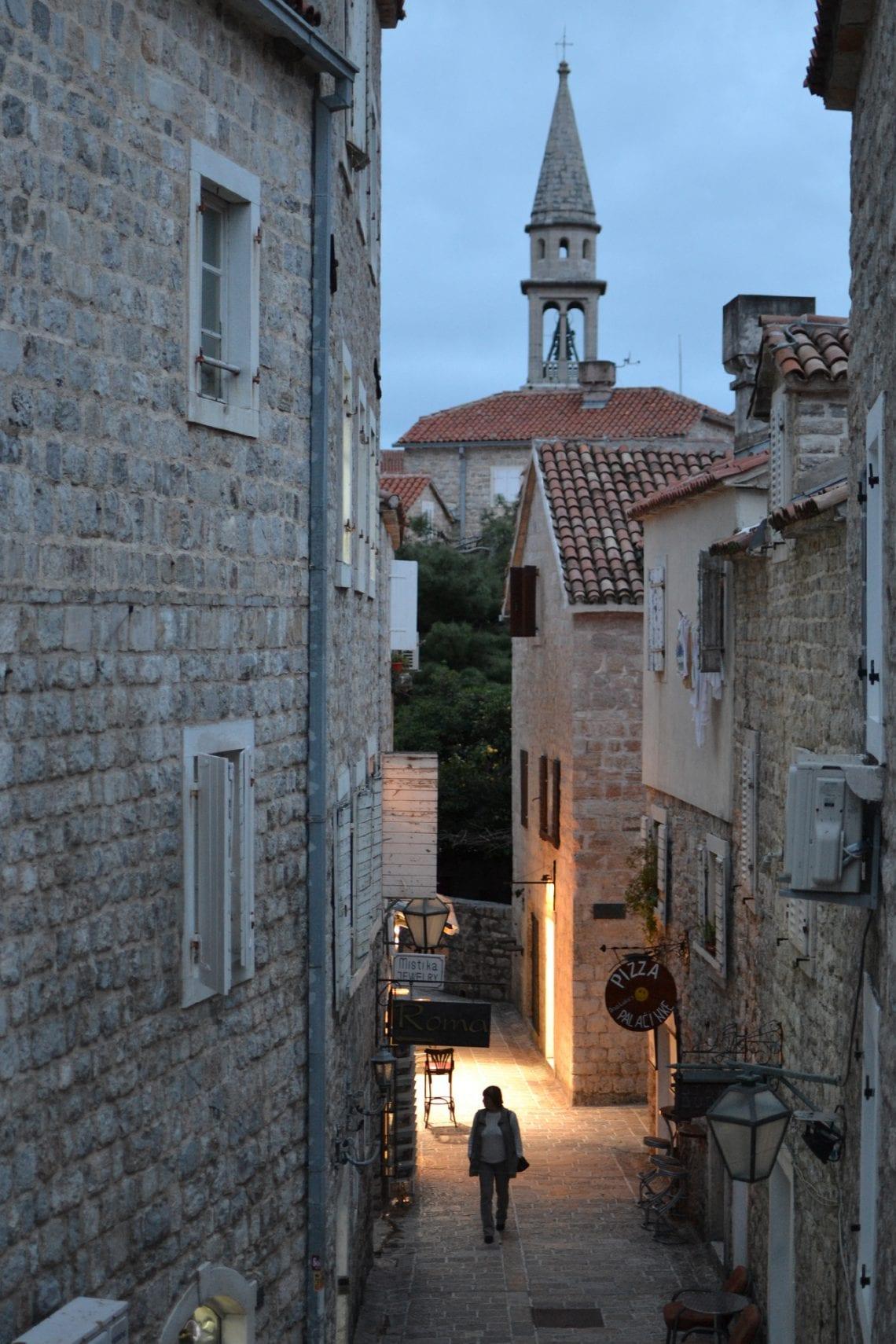 balkan backpack budva streets in the evening