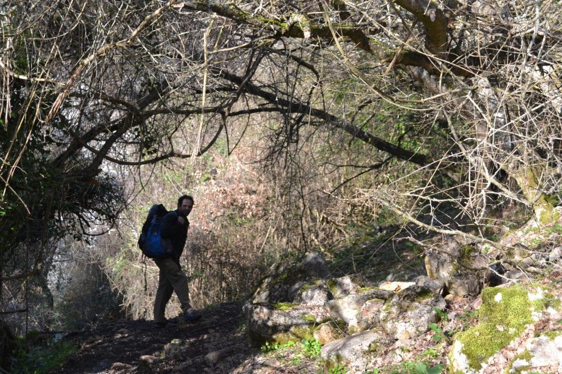 balkan backpack corssing the boarder between albania and macadonia