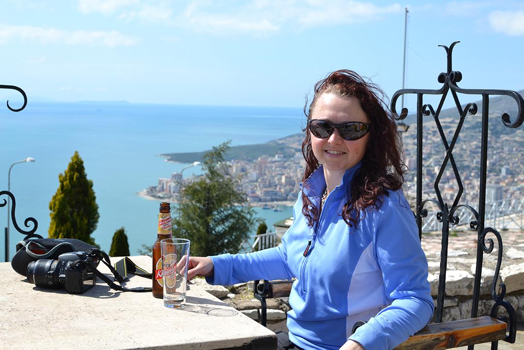 balkan backpack emma having a beer
