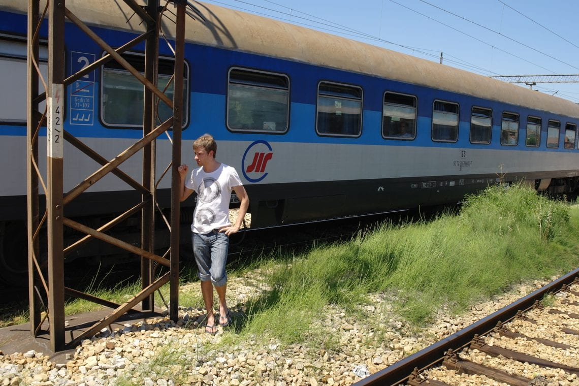 belgrade to budva train stopped in the middle of nowhere so dan's popped out for some fresh air
