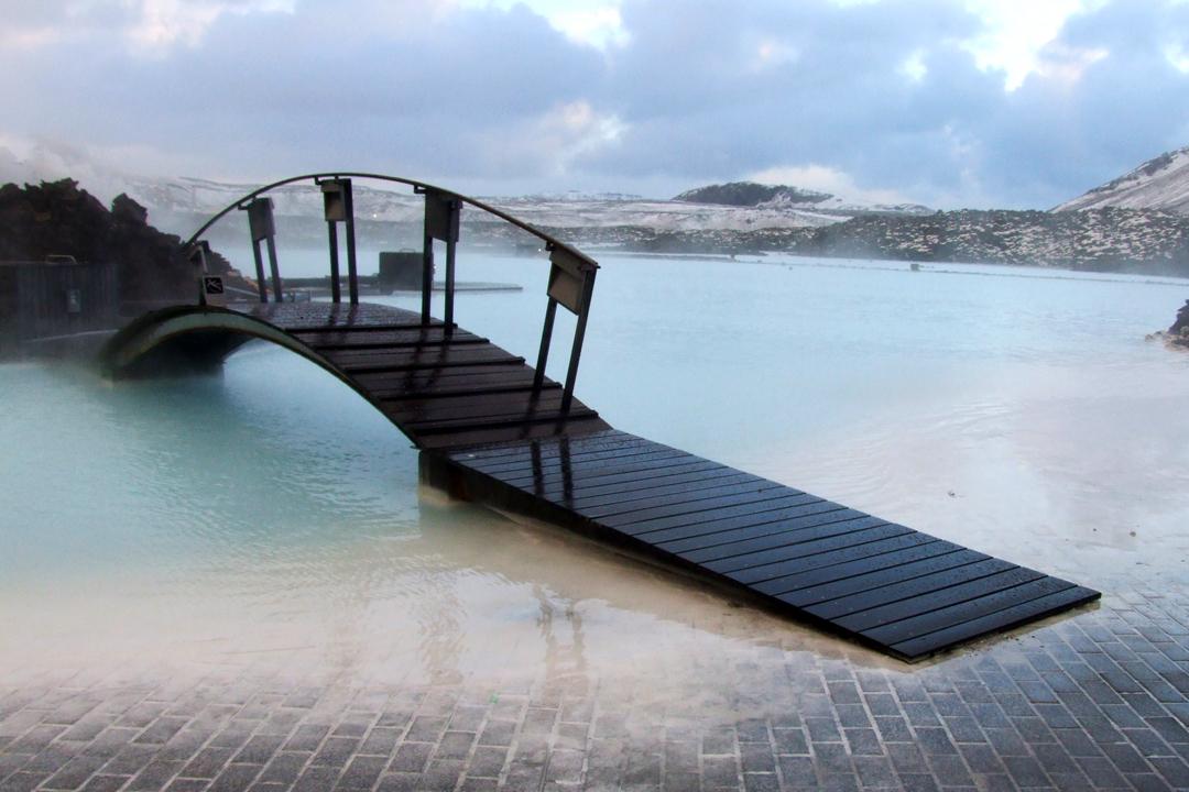 blue lagoon bridge over the lagoon