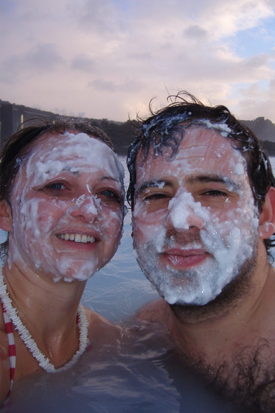 blue lagoon emma and maz with white mud on their faces