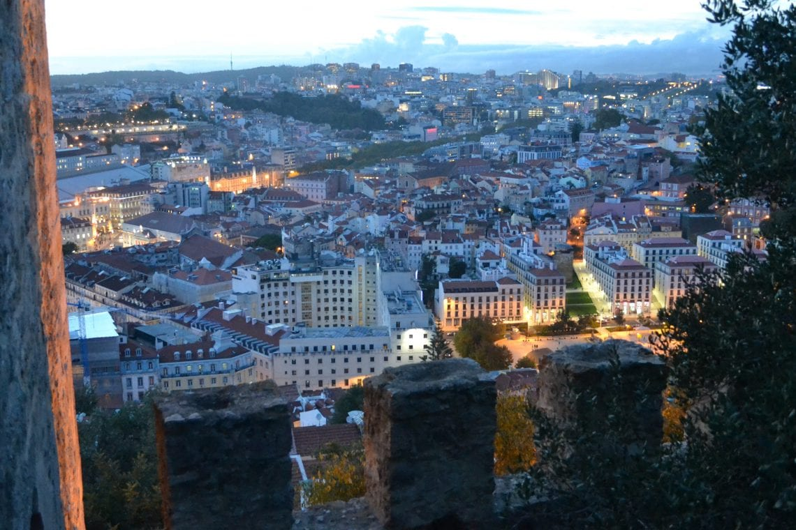 lisbon and porto an evening looking down on lisbon from the castle grounds