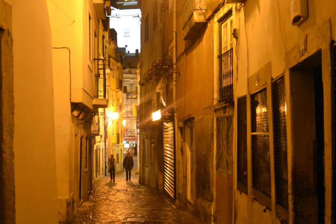 lisbon and porto narrow alley ways in the fado district of lisbon