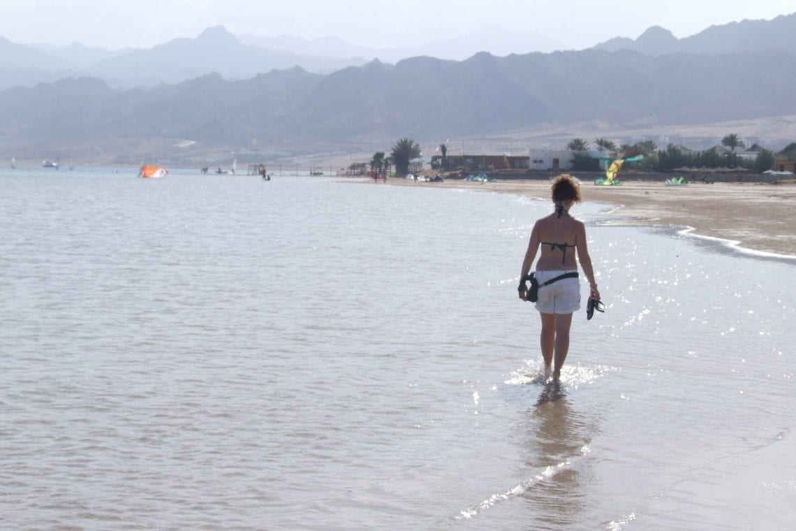 middle east backpack emma on the beach in dahab