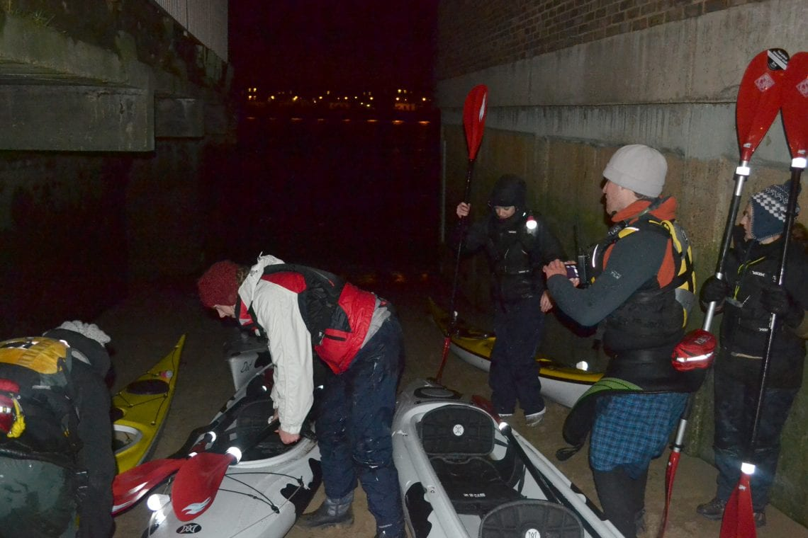 night time paddle getting ready to set off