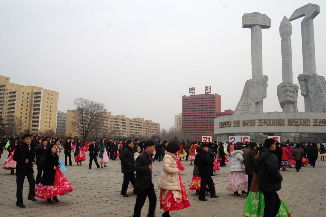 north korea dancing in the square