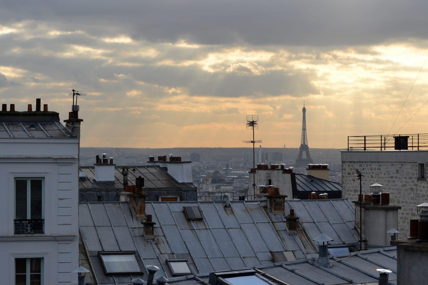 paris roof tops and sky line of paris
