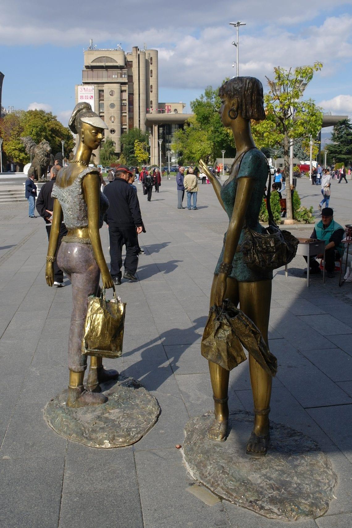 skopje statues on street