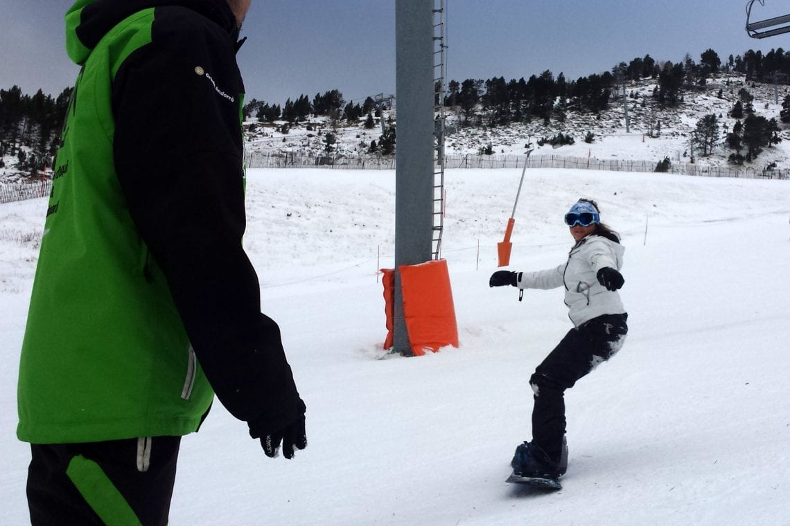 snowboard school emma getting the hang of it
