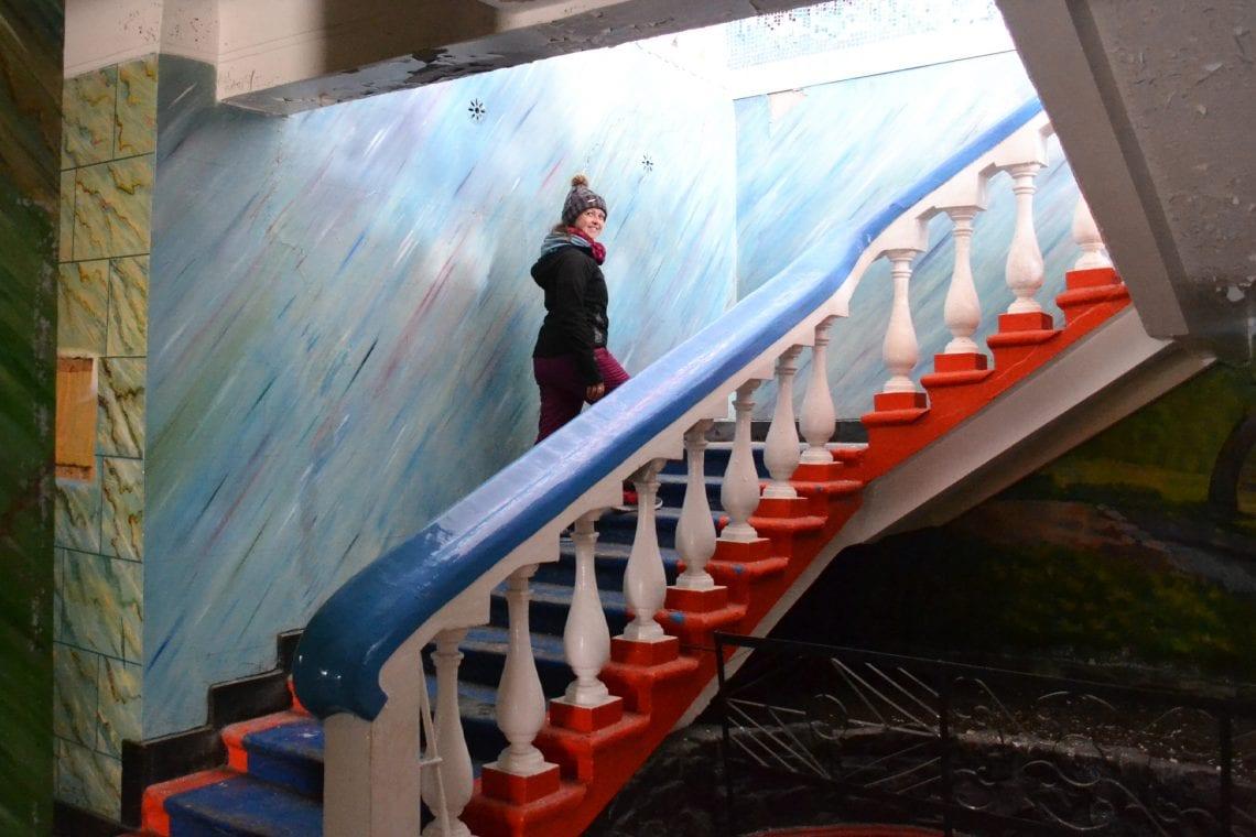 svalbard emma walking up stairs
